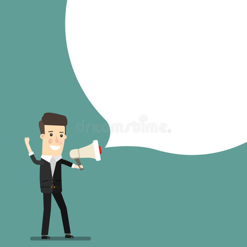Босс, бизнесмен или менеджер Человек в костюме крича через громкоговоритель Вектор иллюстрации шаржа концепции дела иллюстрация вектора