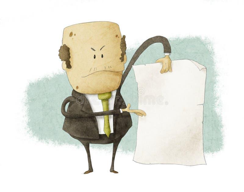 Босс держа пустым пишет бумагу иллюстрация вектора