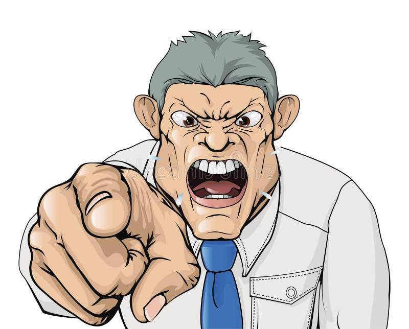 босс задирая указывающ кричать иллюстрация вектора