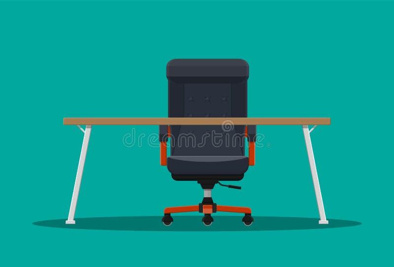 Босс или стул и настольный компьютер главного исполнительного директора бесплатная иллюстрация