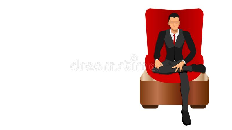 Босс сидит свободно в красном роскошном стуле иллюстрация вектора