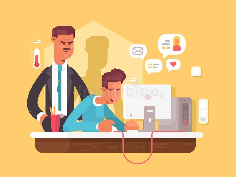 Босс смотрит работника иллюстрация штока