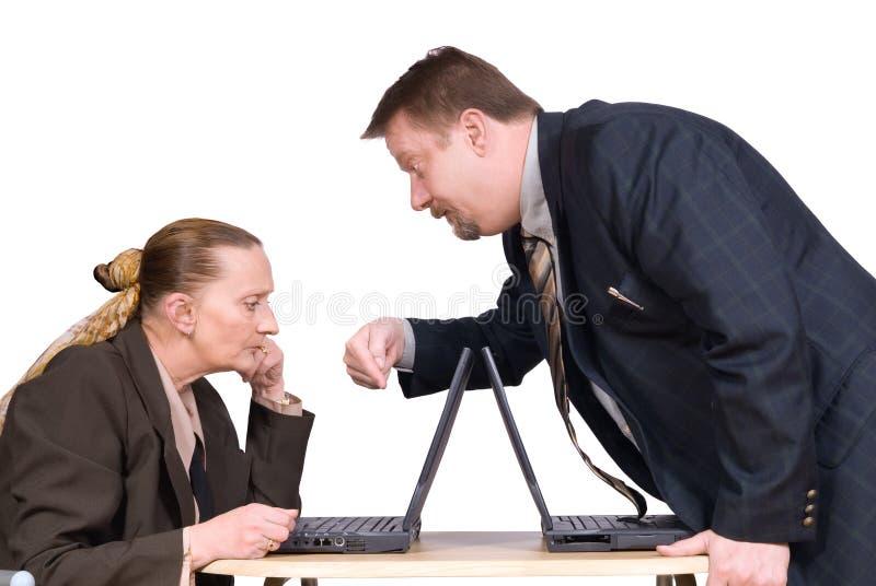 босс co инструктируя работника стоковое изображение rf