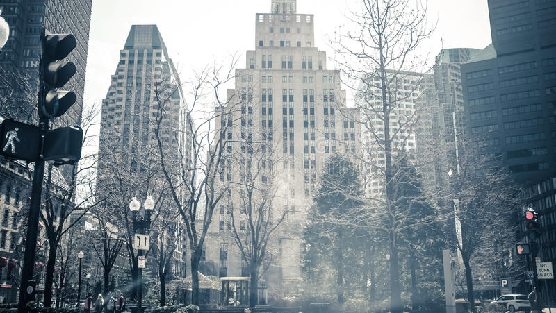 Бостон на холодный день зимы стоковое изображение rf
