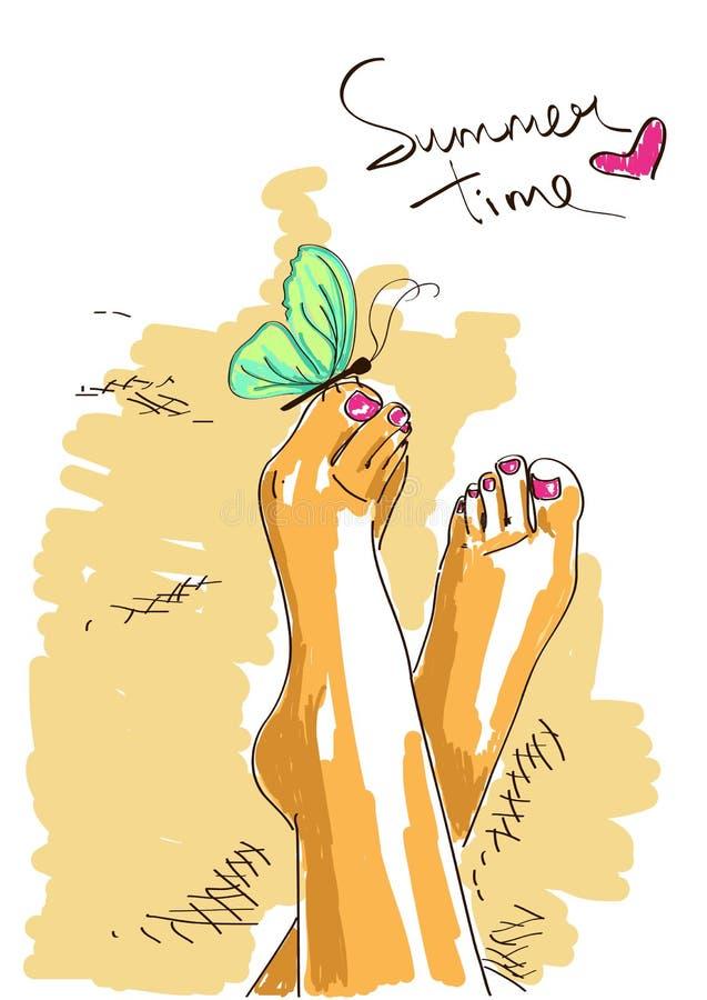 Босые ноги девушки иллюстрация вектора