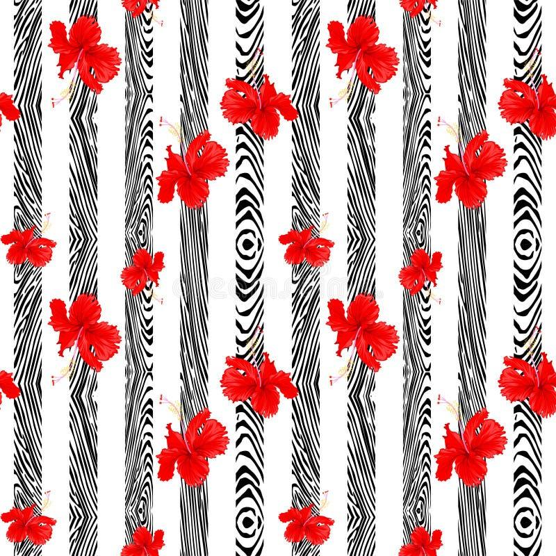 Ботаническая красная вертикаль цветка гибискуса с вертикальным деревянным дизайном картины для безшовной предпосылки иллюстрация штока