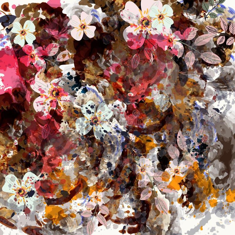 Ботаническая флористическая предпосылка с пятнами и цветками Тропическое gru иллюстрация вектора