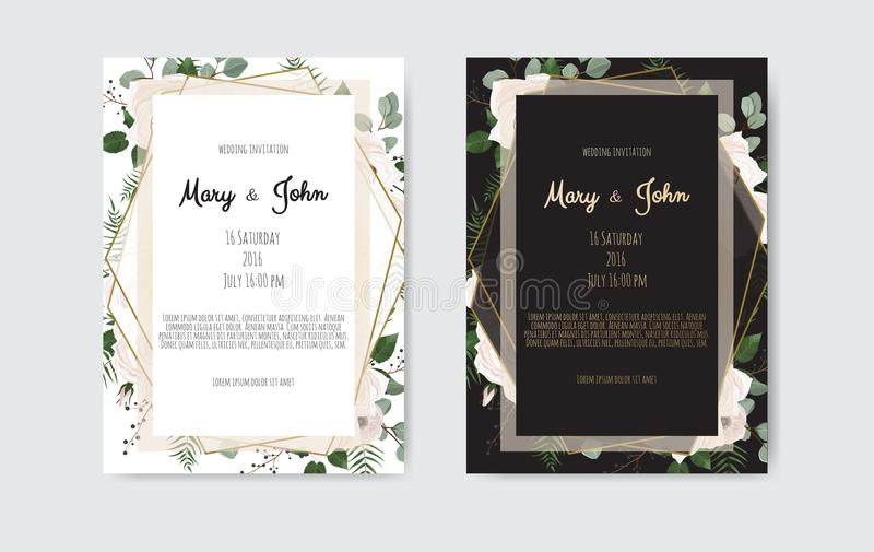 Ботанические цветки дизайна шаблона карточки приглашения свадьбы, белых и розовых на белой и черной предпосылке бесплатная иллюстрация