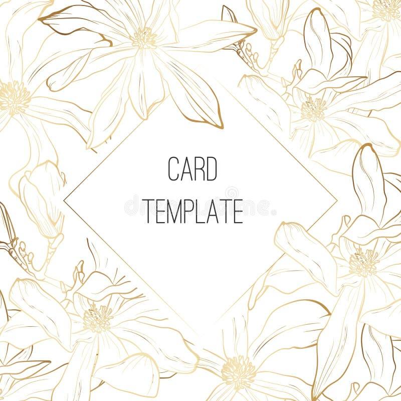 Ботанический дизайн шаблона карты приглашения свадьбы, золотые цветки магнолии весны с золотой рамкой бесплатная иллюстрация