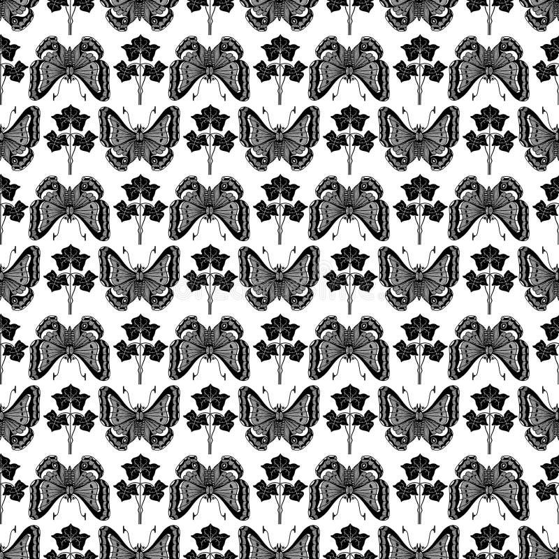 ботанический сбор винограда завода картины бабочки иллюстрация вектора