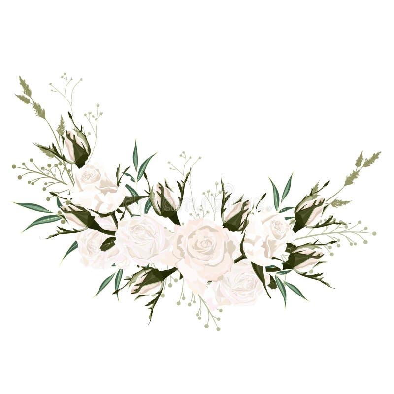 Ботанический элемент дизайна карты приглашения свадьбы весны, цветки белых роз иллюстрация вектора