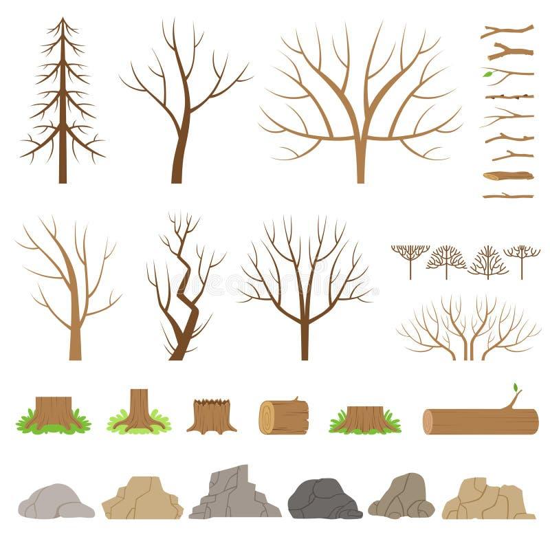 Ботаническое собрание Деревья, кусты, журналы, ветви, камни и другие естественные элементы иллюстрация штока