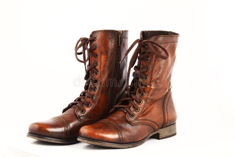 Ботинки дам кожаные стоковое фото rf