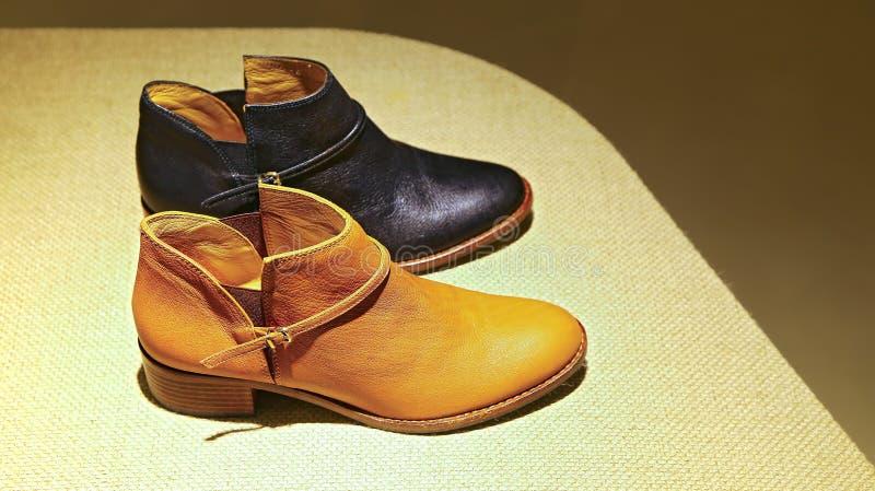 Ботинки дам кожаные стоковое изображение rf