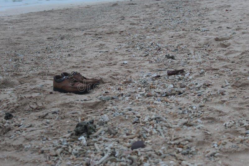 Ботинки Брауна в пляже стоковые фотографии rf