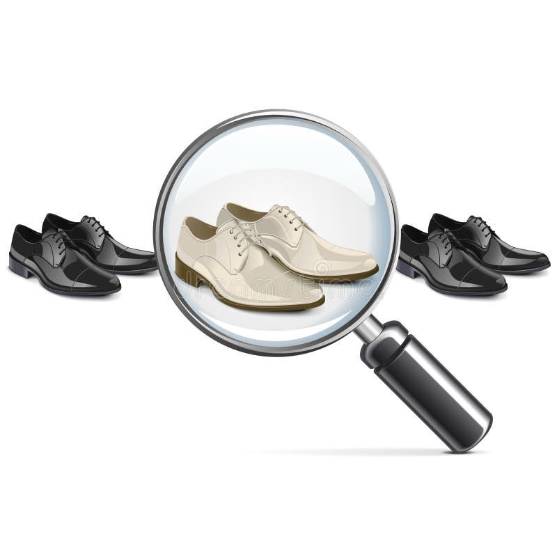 Ботинки вектора мужские с объективом иллюстрация штока