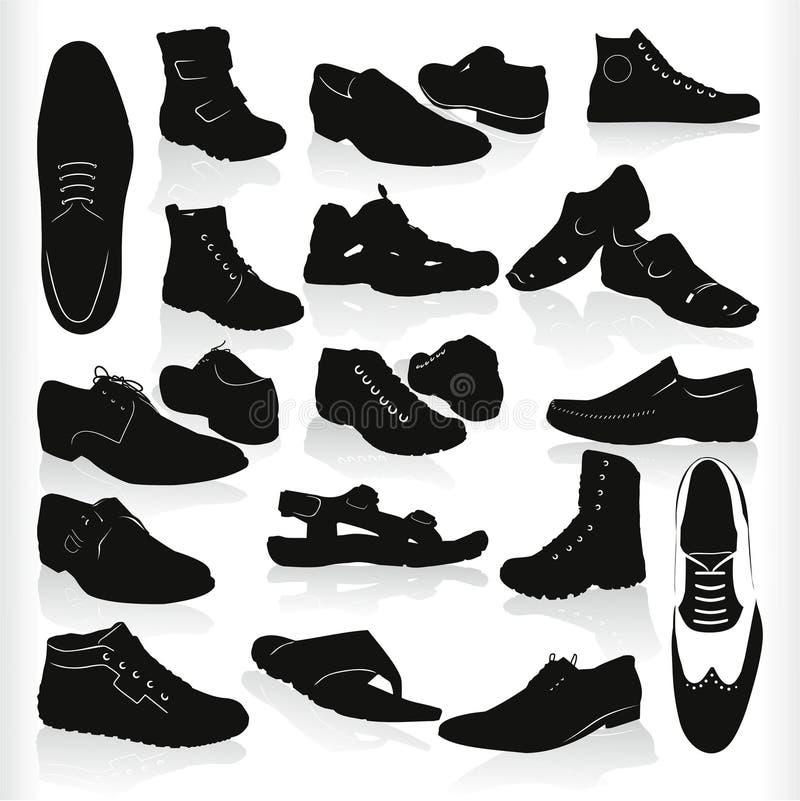 ботинки вектора черные иллюстрация вектора