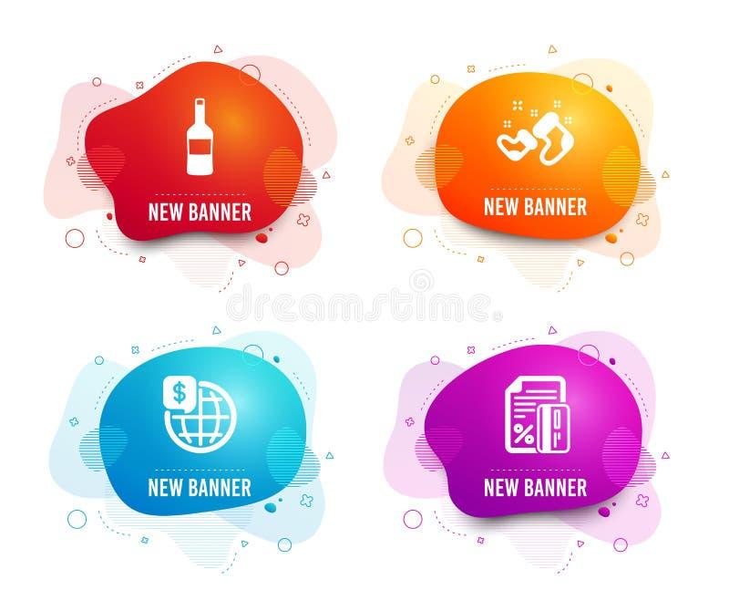 Ботинки вина, Санта и деньги мира значки Знак кредитной карточки Бутылка Merlot, Новый Год, мировые рынки r бесплатная иллюстрация