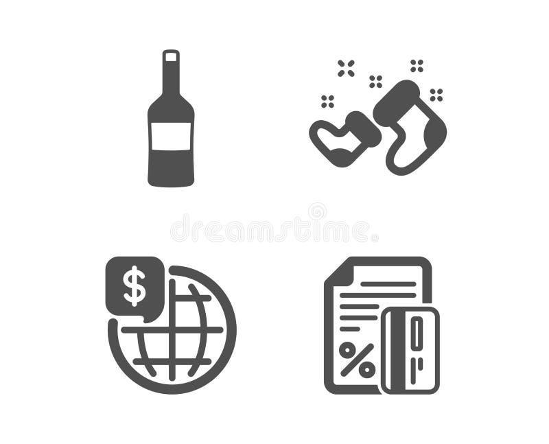 Ботинки вина, Санта и деньги мира значки Знак кредитной карточки Бутылка Merlot, Новый Год, мировые рынки r иллюстрация штока