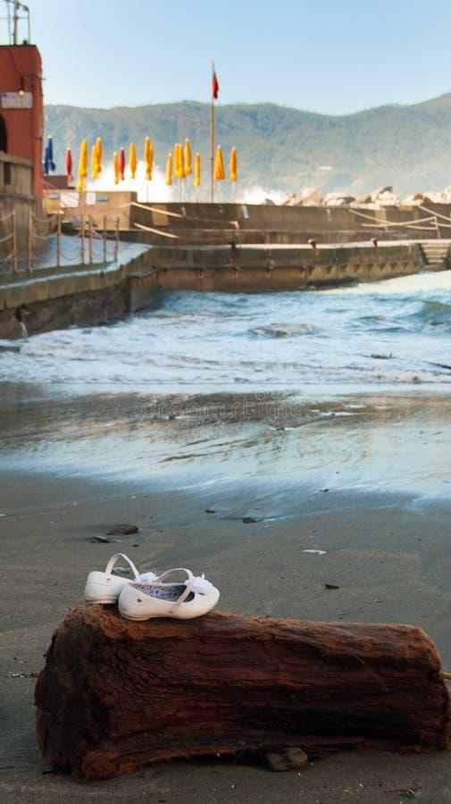 Ботинки девушки на старом деревянном хоботе на песке стоковые изображения rf