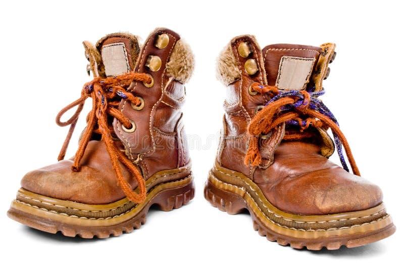 ботинки детей использовали стоковая фотография