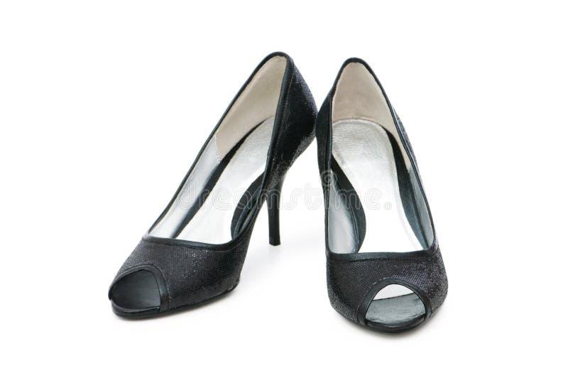 Ботинки женщины изолированные на белизне стоковые изображения rf