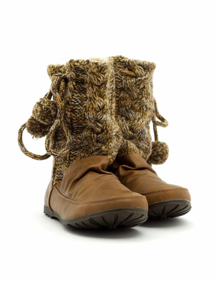 Ботинки женщин коричневые стоковая фотография rf