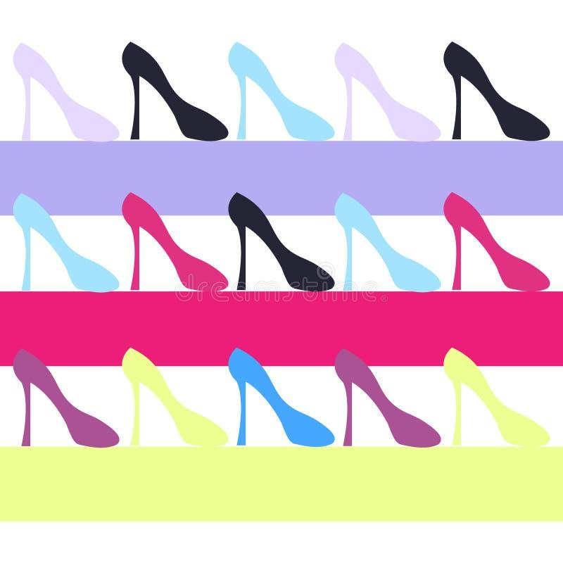 Ботинки женщин цвета на предпосылке цвета Вектор Illustartion иллюстрация вектора
