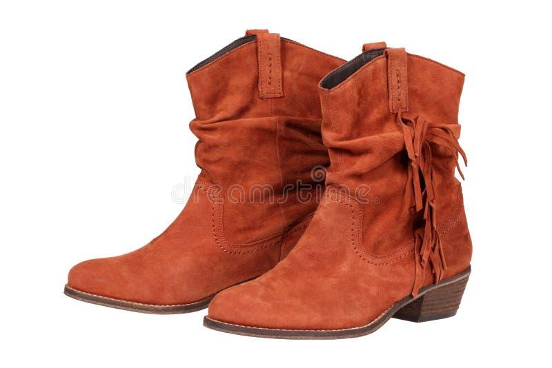 Ботинки замши женщин Brown стоковое изображение rf