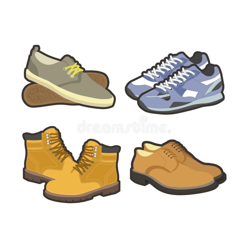 Ботинки зима людей или типы установленные значки ботинок спорта лета вектора изолированные квартирой иллюстрация вектора