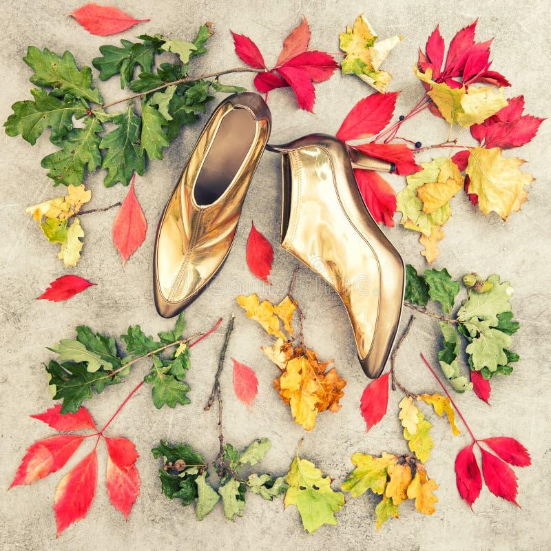 Ботинки листьев осени золотые Положение квартиры моды сбор винограда бумаги орнамента предпосылки геометрический старый стоковые изображения