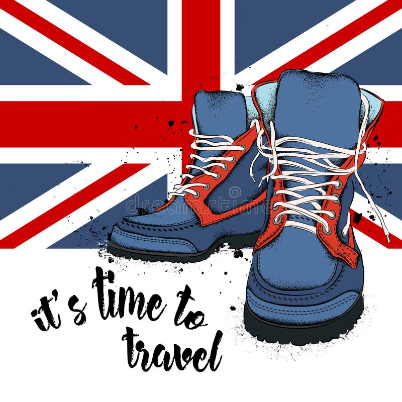 Ботинки и крышка молодости битника Ландшафт Лондона с большим ben также вектор иллюстрации притяжки corel иллюстрация штока