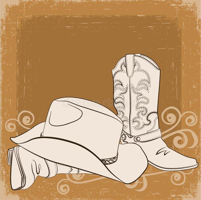 Ботинки и шлем ковбоя. Предпосылка grunge вектора иллюстрация вектора