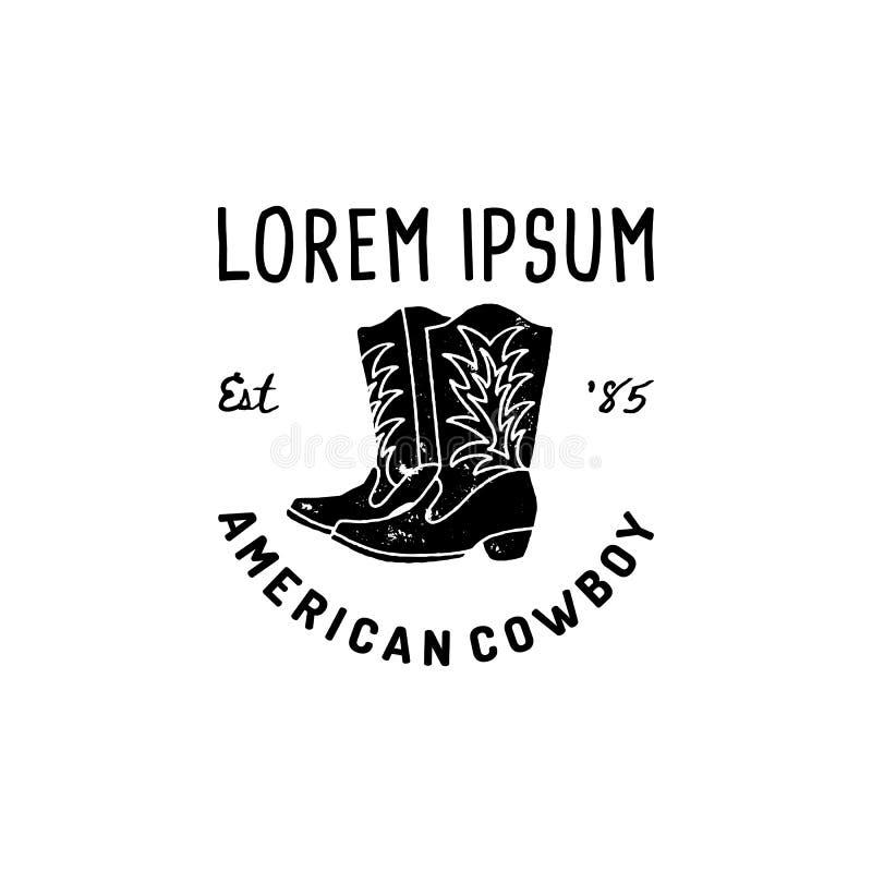 Ботинки ковбоя западного логотипа американские вручают стиль Grunge притяжки Символ Дикого Запада поет ботинок ковбоя и ретро офо иллюстрация вектора
