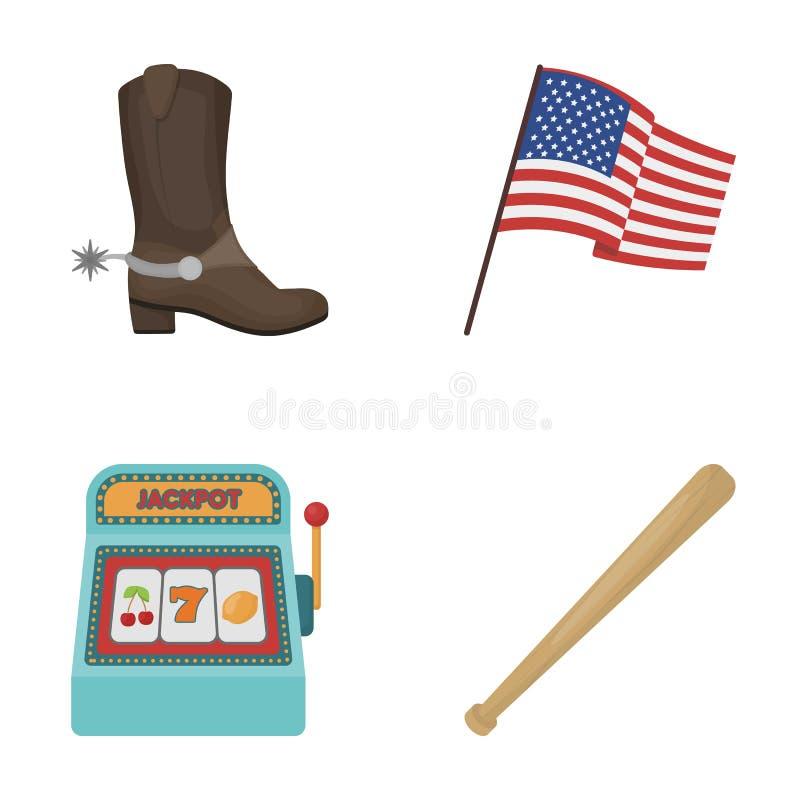 Ботинки ковбоя, национальный флаг, торговый автомат, бейсбольная бита Значки собрания страны США установленные в шарже вводят сим иллюстрация штока