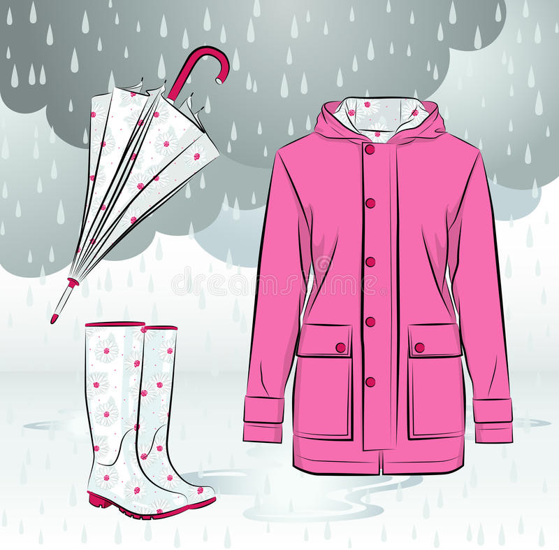 Ботинки, куртка и зонтик дождя женщин с цветочным узором иллюстрация штока