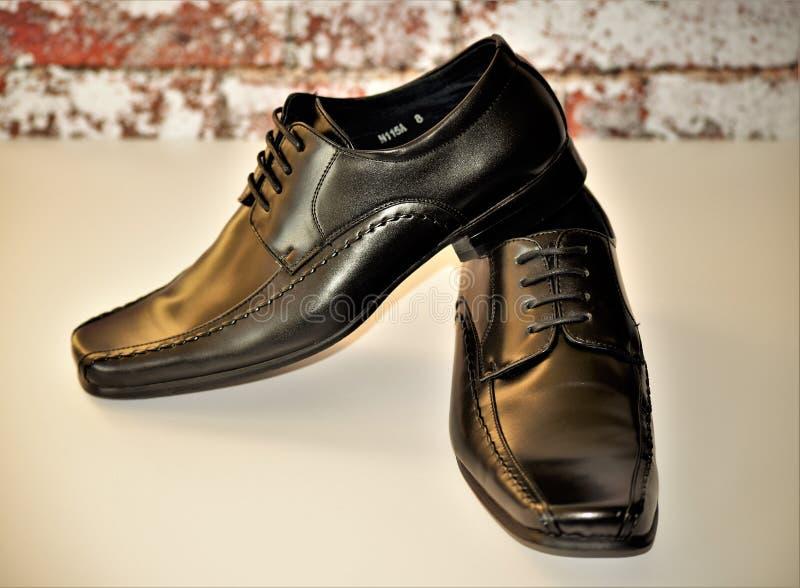 Ботинки людей плоского пальца ноги квадрата элегантные стоковые изображения rf