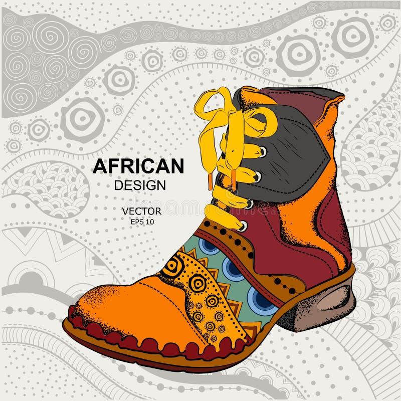 Ботинки молодости хипстера Этнический ботинок африканская конструкция также вектор иллюстрации притяжки corel бесплатная иллюстрация