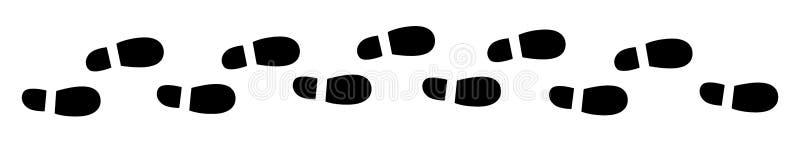 Ботинки печатают в ряд иллюстрация вектора