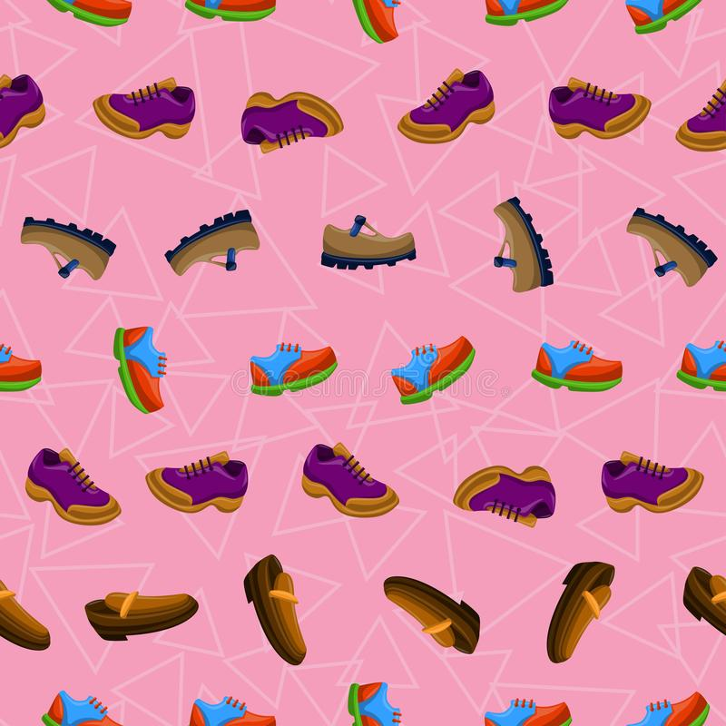 Ботинки плоско красят картину предпосылки безшовную бесплатная иллюстрация