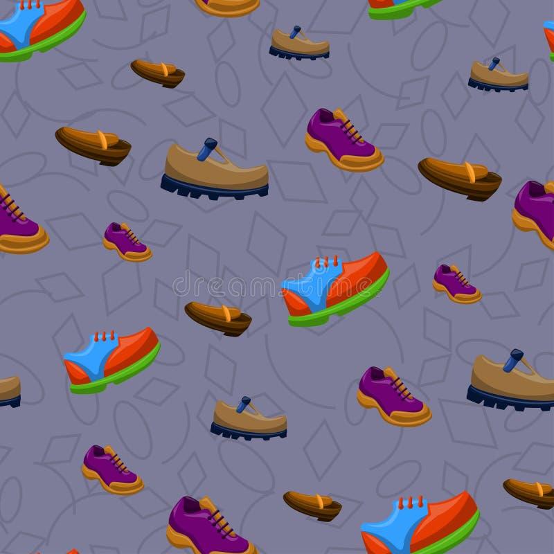 Ботинки плоско красят картину предпосылки безшовную иллюстрация вектора