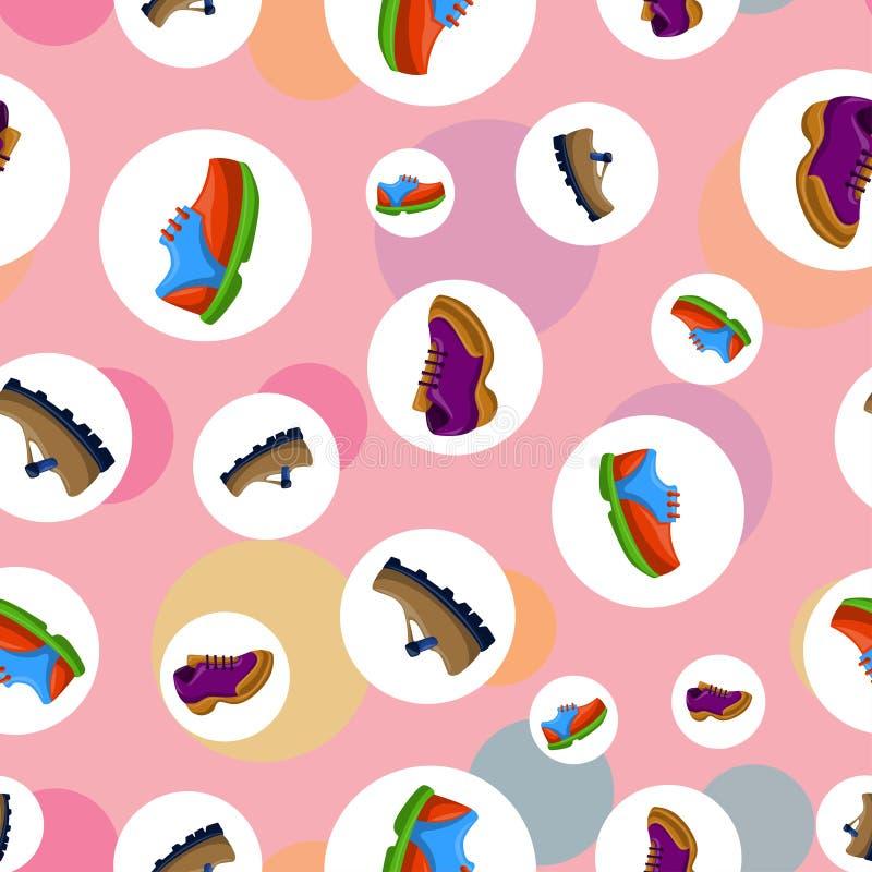 Ботинки плоско красят картину предпосылки безшовную иллюстрация штока