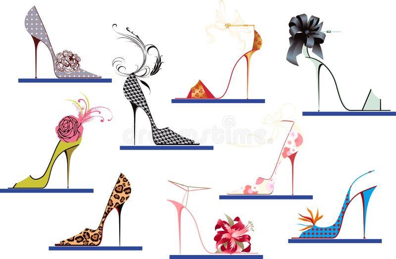 ботинки пяток высокие иллюстрация вектора