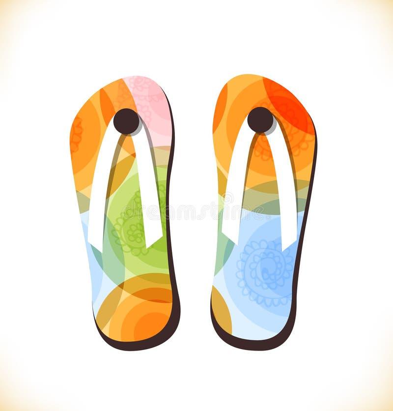 Ботинки пляжа вектора multicolor, тапочки иллюстрация штока