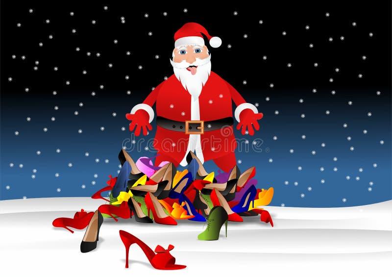 Ботинки Санта Клауса предлагая бесплатная иллюстрация