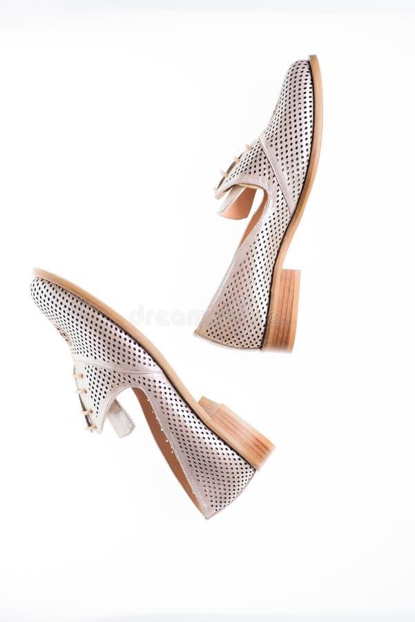 Ботинки сделанные из серебряной кожи на белой изолированной предпосылке, Женская концепция обуви Обувь для женщин на плоско единс стоковое фото rf