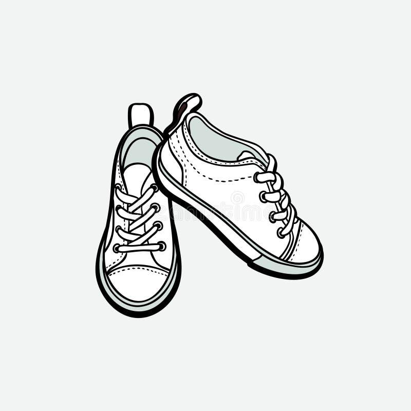 Ботинки тапок спаривают изолированный Иллюстрации вектора руки ботинки вычерченной черно-белые Ботинки спорта вручают нарисованны иллюстрация штока