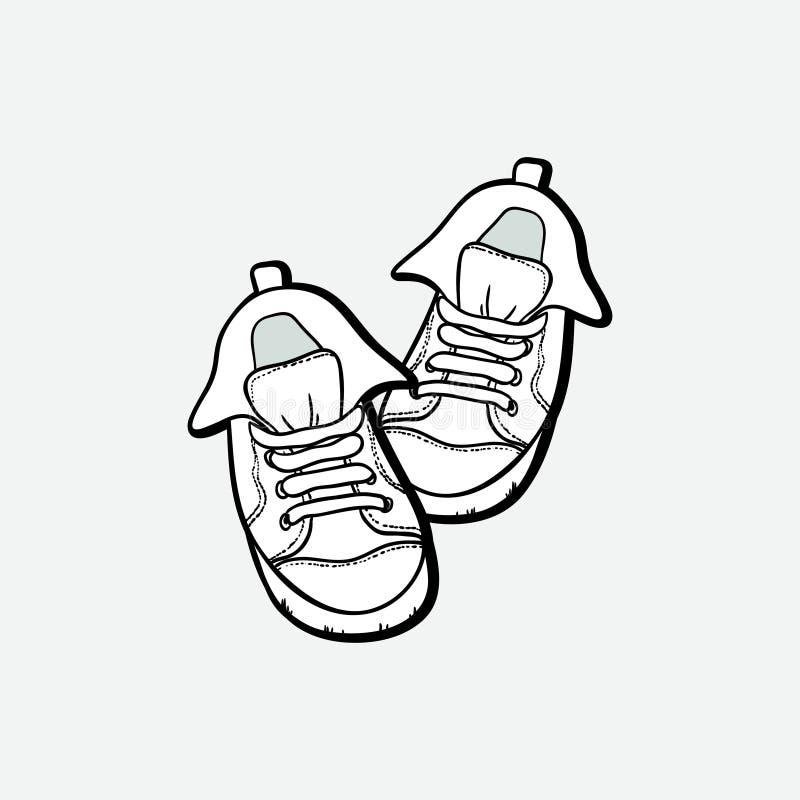Ботинки тапок спаривают изолированный Иллюстрации вектора руки ботинки вычерченной черно-белые Ботинки спорта вручают нарисованны иллюстрация вектора