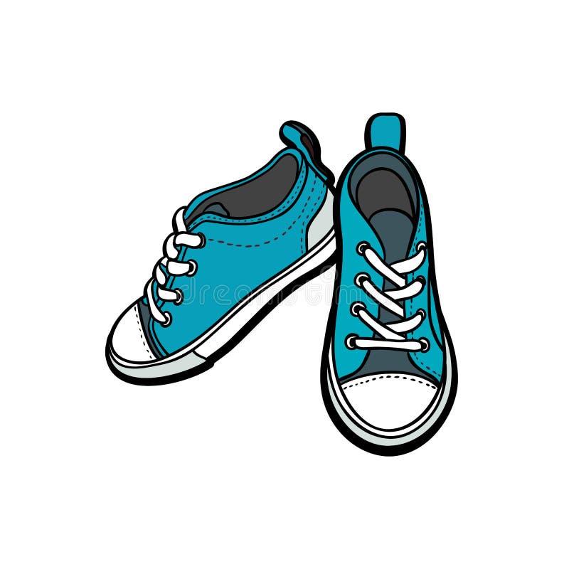 Ботинки тапок спаривают изолированный Иллюстрация вектора руки вычерченная голубых ботинок Ботинки спорта вручают нарисованный дл иллюстрация вектора