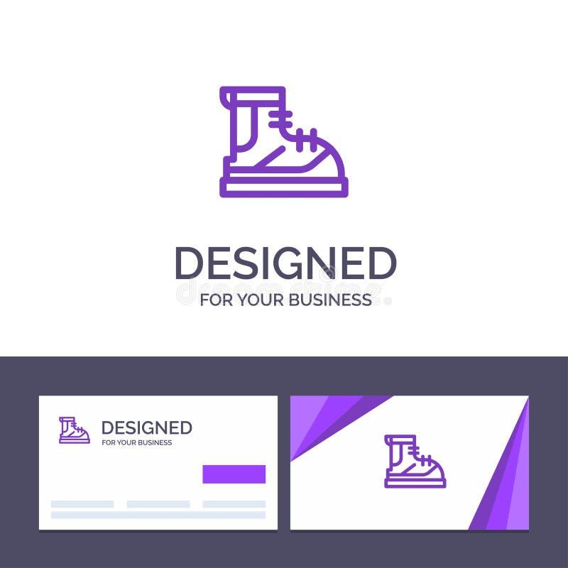 Ботинки творческого шаблона визитной карточки и логотипа, Hiker, след, иллюстрация вектора ботинка иллюстрация вектора